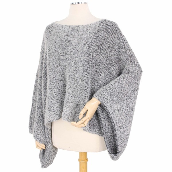 Grey Furry Knit Poncho Sweater.  - One size fits most 0-14 - 100% Acrylic