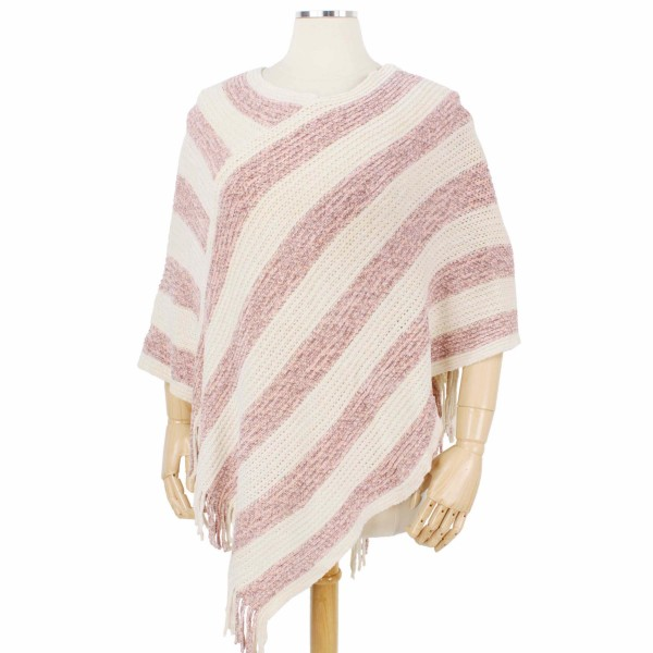 Multi Tone Mix Knit Poncho with Fringe Tassels.  - One size fits most 0-14 - 100% Polyester