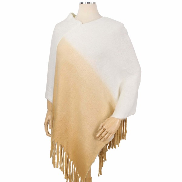 Wholesale ombre Knit Poncho Fringe Tassels One fits most L Acrylic