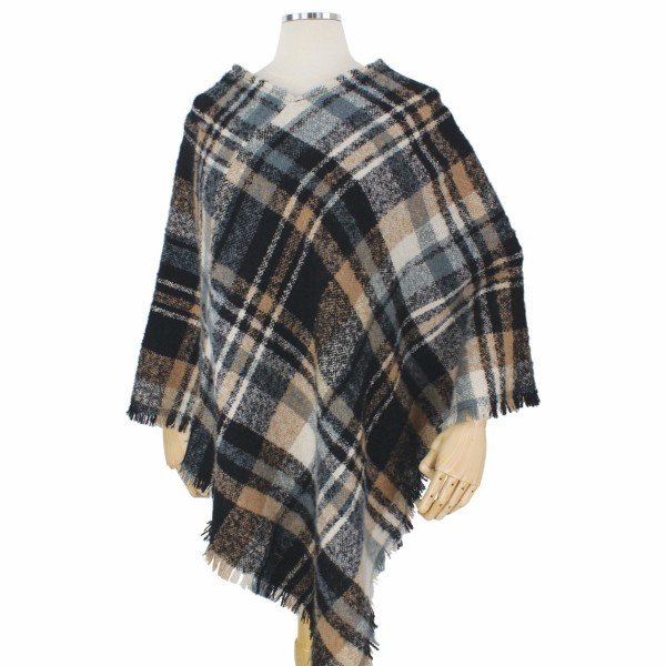 Wholesale fall Winter Plaid Woven Poncho One fits most L Polyester
