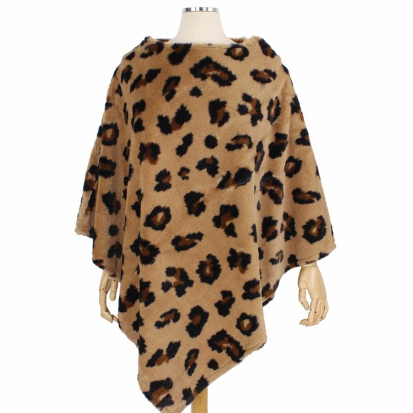"Faux Fur Leopard Print Poncho.  - One size fits most - Approximately 34"" L - 100% Polyester"