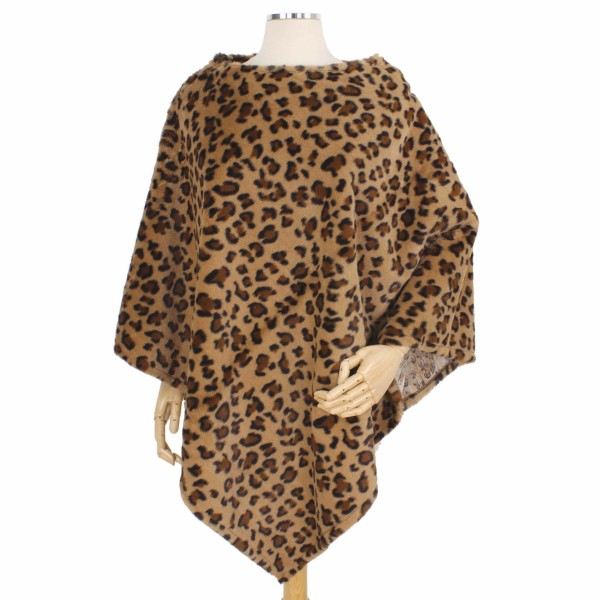 Wholesale faux Fur Leopard Print Poncho One fits most L Polyester