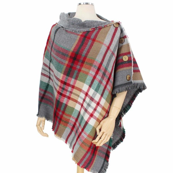 Reversible Tartan Plaid Poncho Featuring Coconut Button Detail.  - One size fits most 0-14 - 100% Acrylic
