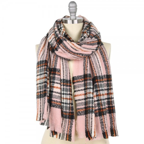 "Fleece Plaid Oblong Scarf.  - Approximately 25"" W x 74"" L - 100% Polyester"
