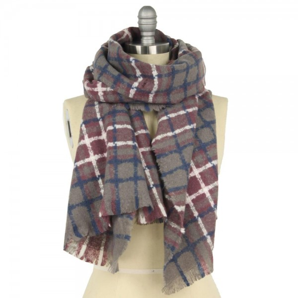 """Fall/Winter Oblong Plaid Scarf.  - Approximately 25"""" W x 74"""" L  - 100% Polyester"""