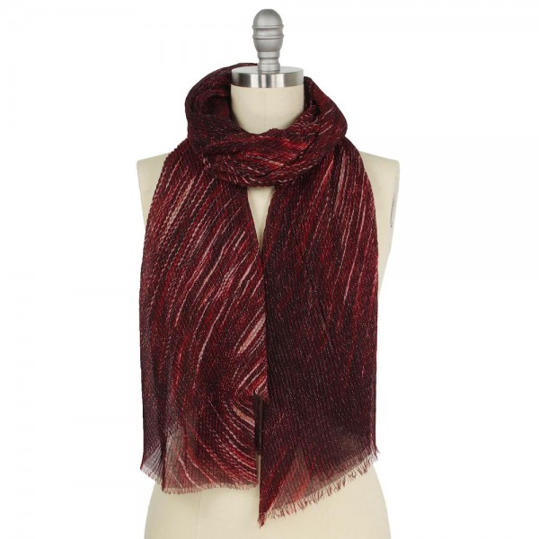 "Lightweight Lurex Pleated Abstract Print Scarf.  - Approximately 25"" W x 70"" L - 100% Polyester"