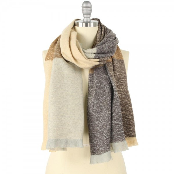 Wholesale heavyweight Color Block Scarf Frayed Trim W L Polyester