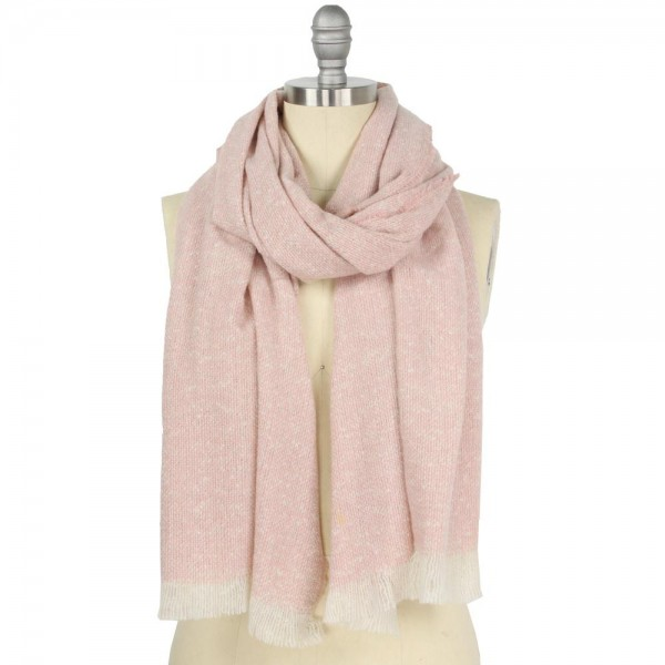 """Puffy Woven Scarf with Frayed Trim.  - Approximately 23"""" W x 74"""" L + Fray 1"""" - 100% Polyester"""