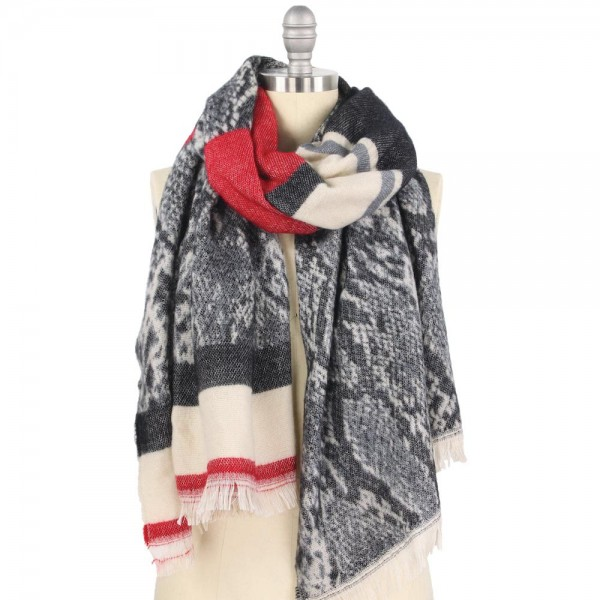 """Heavyweight Snakeskin Woven Scarf Featuring Frayed Trim.  - Approximately 23"""" W x 74"""" L - 100% Acrylic"""