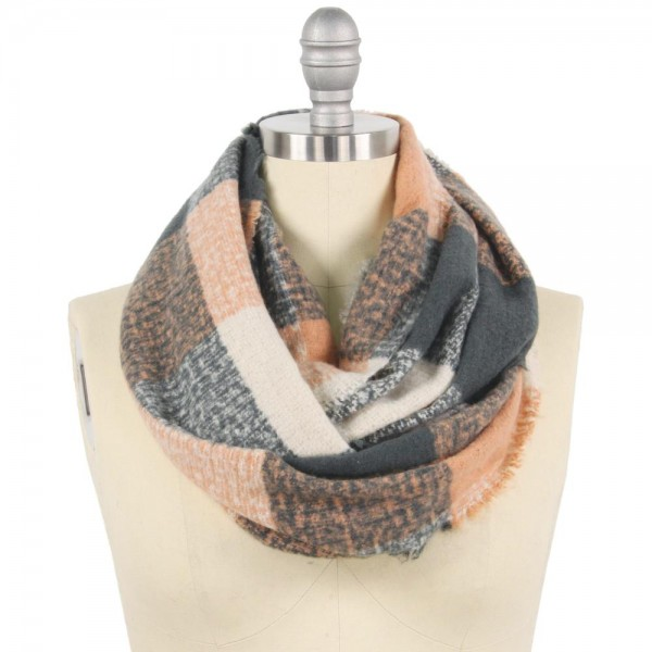 "Checkered Infinity Scarf.  - Approximately 15"" W x 31"" L  - 100% Polyester"