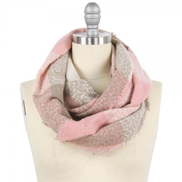 """Checkered Infinity Scarf.  - Approximately 15"""" W x 31"""" L  - 100% Polyester"""