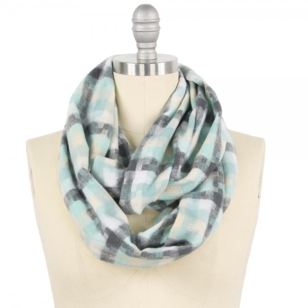 """Geometric Puzzle Woven Infinity Scarf.  - Approximately 15"""" W x 31"""" L - 100% Polyester"""