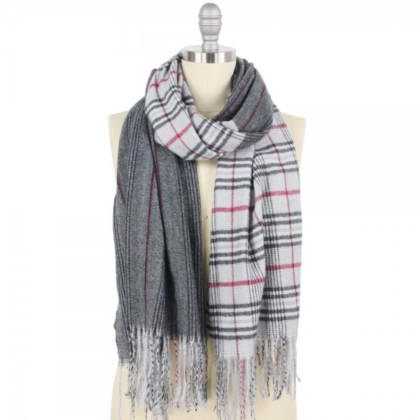 "Half Plaid Stripe Oblong Scarf with Fringe Tassels.  - Approximately 25"" W x 75"" L + Fringe 4"" L - 100% Polyester"