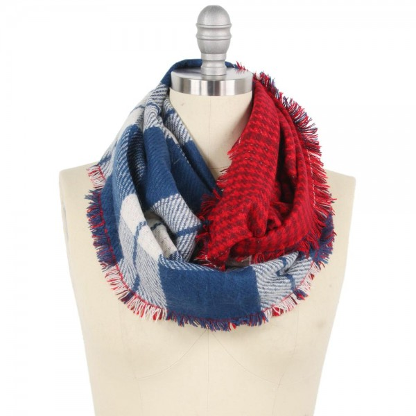 "Reversible Double Plaid Mix Infinity Scarf Featuring Frayed Trim.  - Approximately 15"" W x 31"" L - 100% Polyester"