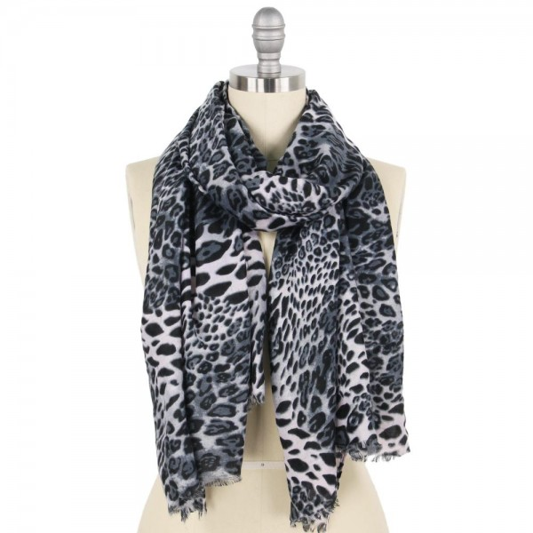 "Lightweight Leopard Print Scarf.  - Approximately 34"" W x 70"" L - 100% Polyester"