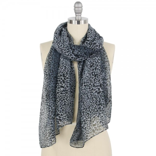"Lightweight Sheer Ombre Leopard Print Scarf.  - Approximately 34"" W x 70"" L - 100% Polyester"