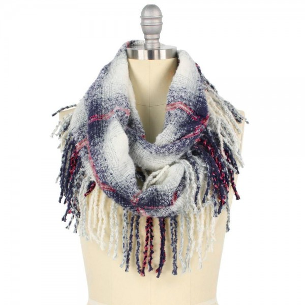 "Plaid Infinity Scarf with Fringe Tassels.  - Approximately 15"" W x 31"" L  - 100% Acrylic"