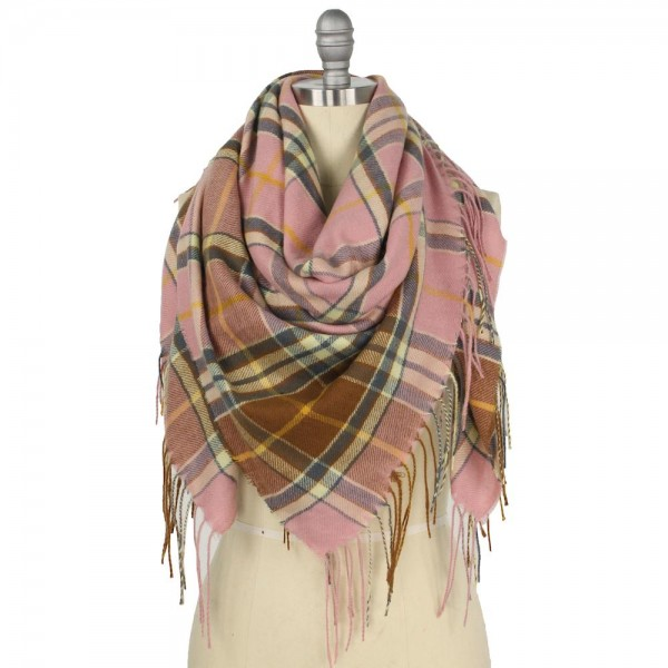 "Plaid Bordered Square Blanket Scarf Featuring Fringe Trim.  - Approximately 51"" W x 51"" L  - Fringe Tassels 3.75"" L - 100% Polyester"