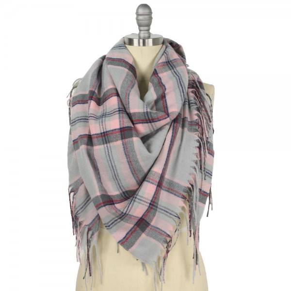 "Plaid Square Blanket Scarf Featuring Fringe Trim.  - Approximately 51"" W x 51"" L  - Fringe Tassels 3.75"" L  - 100% Polyester"
