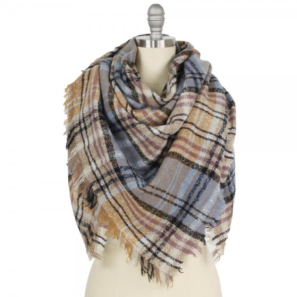 "Plaid Square Blanket Scarf Featuring Frayed Trim.  - Approximately 52"" W x 53"" L  - 100% Polyester"