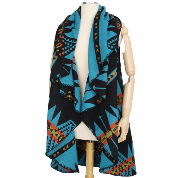 """Women's Reversible Western Print Round Vest.  - One size fits most 0-14 - Approximately 35"""" L  - 100% Polyester"""