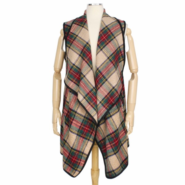 """Fall/Winter Tartan Plaid Vest Featuring Pockets.  - One size fits most 0-14 - Approximately 33"""" L - 100% Polyester"""