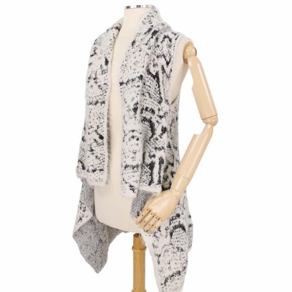 Furry Snakeskin Knit Vest.  - One size fits most 0-14 - 50% Polyester / 50% Acrylic