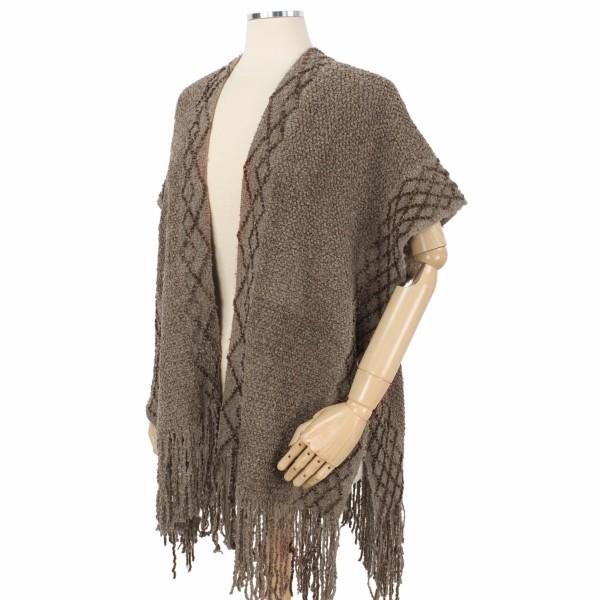 Wholesale chenille Knit Slim Kimono Diamond Textured Trim One fits most L Polyes