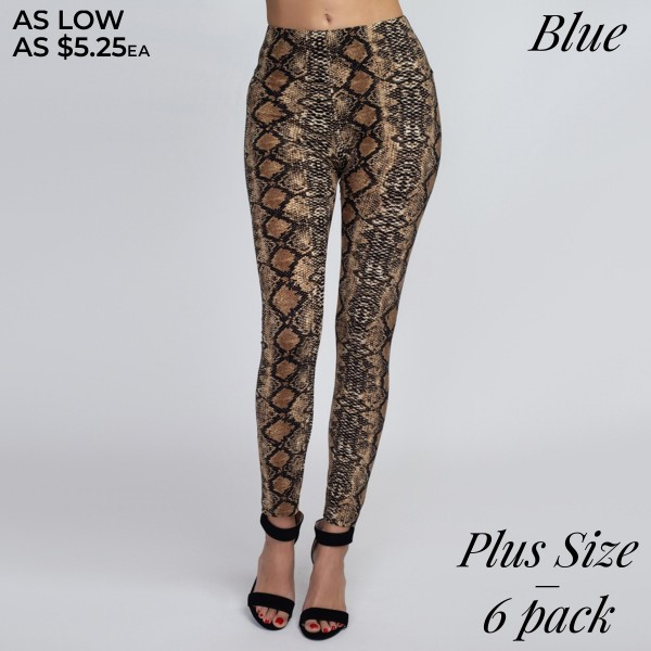 Women's Plus Size Snakeskin Leggings. (6pack) (One Size Fits Most Plus)  • Long, skinny leg design • High rise • Elasticized waistband • Classic Snakeskin Print • Pull-on styling • Super soft peach skin fabric with stretch • Full length • Fits like a glove • Hand Wash Cold. Do not bleach. Hang Dry • Imported  - Pack Breakdown: 6pcs/pack - One Size fits most Plus  - 95% Polyester / 5% Spandex