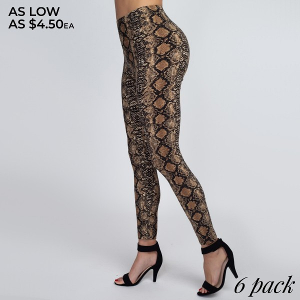 Women's Classic Snakeskin Leggings. (6 PACK)  • Elasticized high rise waistband • Classic snakeskin print • Ultra soft and stretchy peach skin fabrication • Fits like a glove • Full length fit • Long, skinny leg design • Mid-Waist • Snake Print • Pull-on styling • Hand Wash Cold. Do not bleach. Hang Dry • Imported  - Pack Breakdown: 6 Pair Per Pack - One size fits most 0-14 - 95% Polyester, 5% Spandex