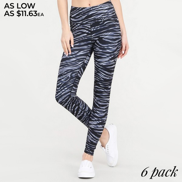 Women's Active Zebra Print Workout Leggings. (6pack)   • Elasticized high rise waistband sits flat against your skin • Stylish zebra print all-over • High rise elasticized waistband • Print throughout • Fits like a glove • Second skin fit and feel • 4 way stretch for more movement • Moisture wick fabric • Full length design • Squat Proof • Flat lock seams prevent chafing • Triangular Cotton Gusset Lining • Great for all low-high impact workouts • Imported  - Pack Breakdown: 6pcs/pack - Sizes: 2-S / 2-M / 2-L  - 46% Polyester / 41% Nylon / 13% Spandex