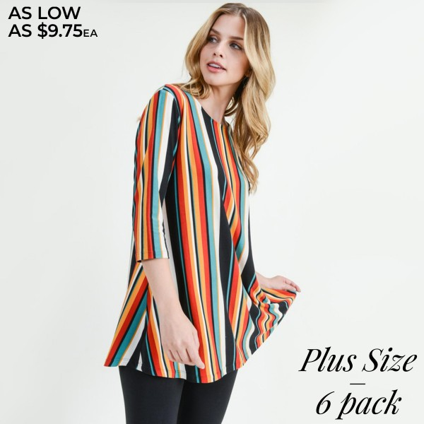 Women's Plus Size Multicolor Stripe Tunic Top with 3/4 Sleeves.  • 3/4 length sleeves • Crew neckline • Colorful striped print • Round hemline • Soft and comfortable fabric with stretch • Pull over styling • Perfect for layering with leggings or skinny jeans • Super Soft • Imported  - Pack Breakdown: 6pcs/pack - Sizes: 2-XL / 2-2XL / 2-3XL - 95% Rayon / 5% Spandex