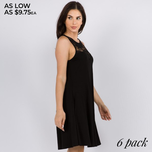 Women's Black Sleeveless Dress Featuring Lace Detail.