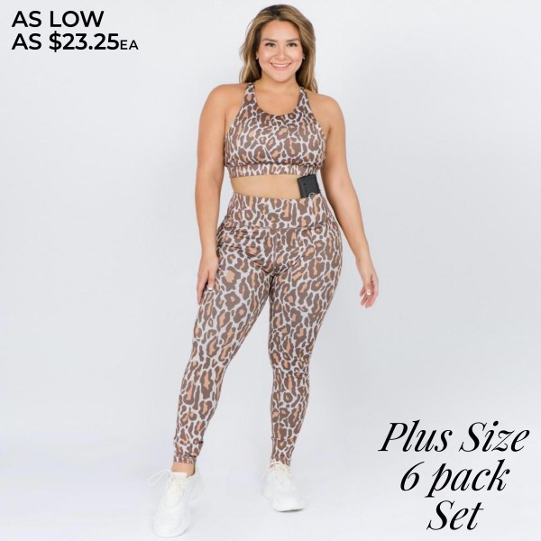 Women's Plus Size Active Leopard Print Workout Sports Set. ( Includes Bra & Leggings)   • Racerback design • High rise elasticized waistband • Leopard print throughout • Fits like a glove • Second skin fit and feel • 4 way stretch for more movement • Moisture wick fabric • Full length design • Flat lock seams prevent chafing • Triangular Cotton Gusset Lining • Great for all low-high impact workouts • Imported  - Pack Breakdown: 6pcs/pack - Includes Bra & Leggings - Sizes: ALL XL - 46% Polyester / 41% Nylon / 13% Spandex