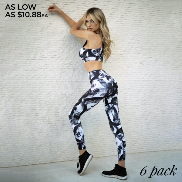 "Women's Active Paint Streak Print Workout Leggings.  • High rise pocket waistband for phone, keys & cash • Paint streak design • 4-way stretch for more movement • Fits like a glove • Flat lock seams prevent chafing • Triangular Cotton Gusset Lining • Moisture wick fabric • Full length design • Squat Proof • Perfect for low-high impact workouts • Imported  - Pack Breakdown: 6pcs/pack - Sizes: 2-S / 2-M / 2-L  - Inseam Approximately 27"" L  - 46% Polyester / 41% Nylon / 13% Spandex"
