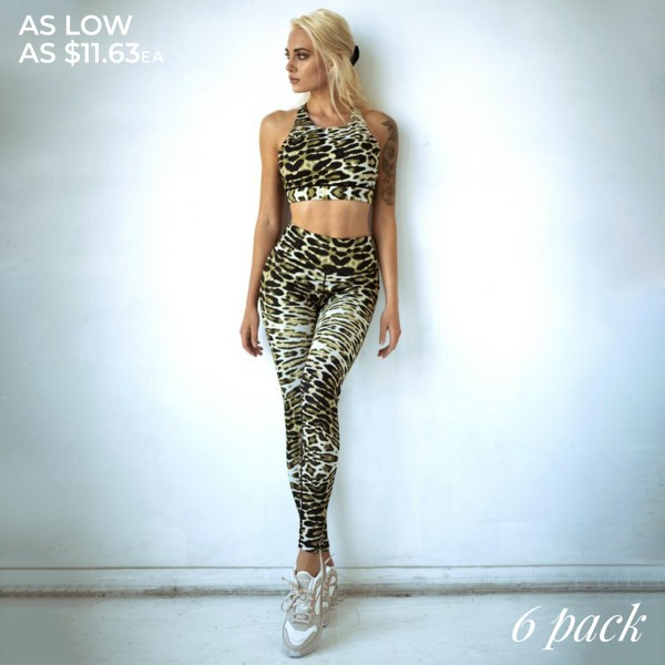"""Women's Active Feline Leopard Print Workout Leggings.  • High rise elasticized waistband • Hidden waist pocket for loose items • Leopard print • Flat lock seams prevent chafing • 4-way stretch fabric for a move-with-you feel • Triangle crotch cotton lined gusset prevents camel toe • Full length design • Pull on/off design • Stretchy, smooth, and lightweight  - Pack Breakdown: 6pcs/pack - Sizes: 2-S / 2-M / 2-L  - Inseam Approximately 27"""" L - 46% Polyester / 41% Nylon / 13% Spandex"""