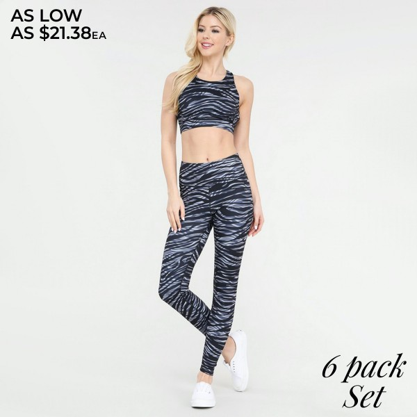 Women's Active Zebra Print Workout Sports Set.  • High neckline • Removable padding that provides support & shaping • Racer-back design • Moisture wicking fabric • 4-way stretch for a move-with-you feel • Pull over styling • Great for low-medium impact workouts • Imported • Elasticized high rise waistband sits flat against your skin • Stylish zebra print all-over • High rise elasticized waistband • Print throughout • Fits like a glove • Second skin fit and feel • 4 way stretch for more movement • Moisture wick fabric • Full length design • Squat Proof • Flat lock seams prevent chafing • Triangular Cotton Gusset Lining • Great for all low-high impact workouts  - Pack Breakdown: 6pcs/pack - Includes Bra & Leggings - Sizes: 2-S / 2-M / 2-L  - 46% Polyester / 41% Nylon / 13% Spandex