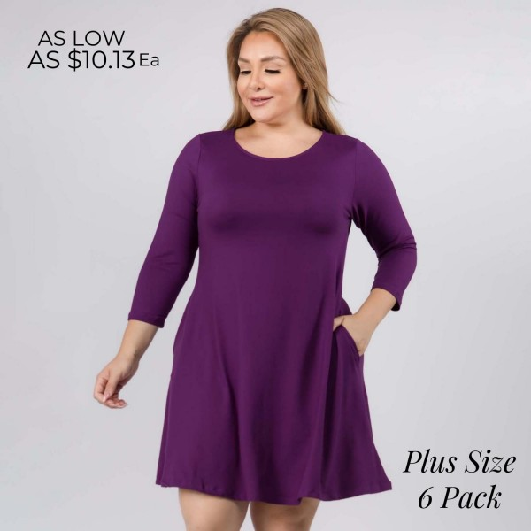 "Women's Plus Size Solid 3/4 Sleeve Swing Dress Featuring Side Pockets.  • Relax Scoop Neckline • ¾ Fitted Sleeves • Front Pleats • Swing Style Bodice • Solid Color • Closure Style: Pullover • Hand Wash Cold/Tumble Dry/Iron Low/Do not Dry Clean • Import  - Pack Breakdown: 6 Dresses Per Pack - Sizes: 2-XL / 2-2XL / 2-3XL - Approximately 34"" L - 95% Polyester / 5% Spandex"