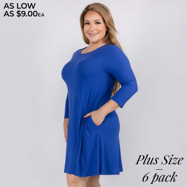 "Women's Plus Size Solid 3/4 Sleeve Swing Dress Featuring Side Pockets.  • Relax Scoop Neckline • ¾ Fitted Sleeves • Front Pleats • Swing Style Bodice • Solid Color • Closure Style: Pullover • Hand Wash Cold/Tumble Dry/Iron Low/Do not Dry Clean • Import  - Pack Breakdown: 6pcs/pack - Sizes: 2-XL / 2-2XL / 2-3XL - Approximately 34"" L - 95% Polyester / 5% Spandex"