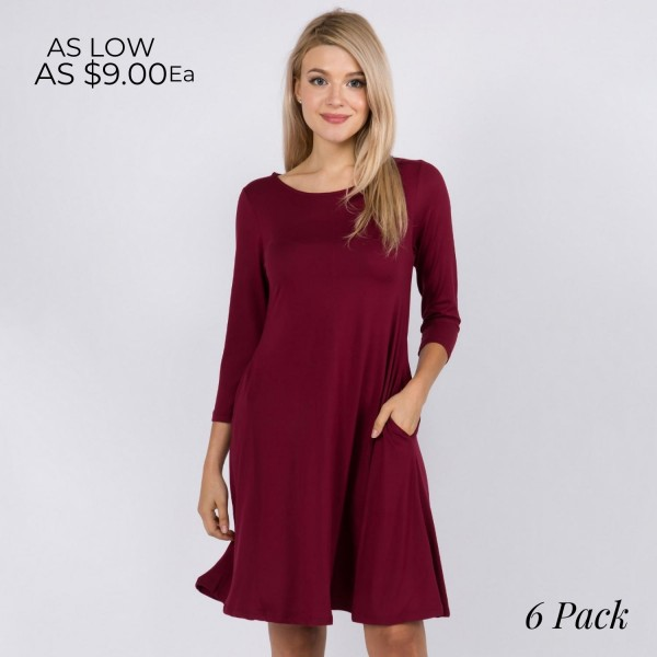 "Women's Solid 3/4 Sleeve Swing Dress Featuring Side Pockets.  • Relax Scoop Neckline • ¾ Fitted Sleeves • Front Pleats • Swing Style Bodice • Solid Color • Closure Style: Pullover • Hand Wash Cold/Tumble Dry/Iron Low/Do not Dry Clean • Import  - Pack Breakdown: 6 Dresses Per Pack - Sizes: 2-S / 2-M / 2-L  - Approximately 34"" L  - 95% Polyester / 5% Spandex"