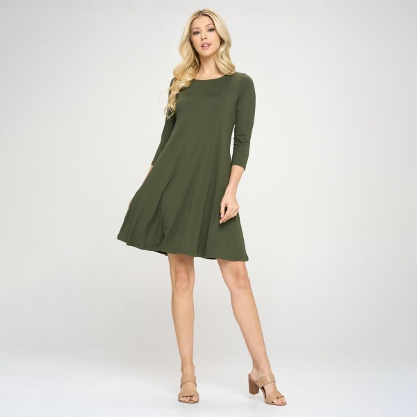 """Women's Solid 3/4 Sleeve Swing Dress Featuring Side Pockets.  • Relax Scoop Neckline • ¾ Fitted Sleeves • Front Pleats • Swing Style Bodice • Solid Color • Closure Style: Pullover • Hand Wash Cold/Tumble Dry/Iron Low/Do not Dry Clean • Import  - Pack Breakdown: 6 Dresses Per Pack - Sizes: 2-S / 2-M / 2-L  - Approximately 34"""" L  - 95% Polyester / 5% Spandex"""