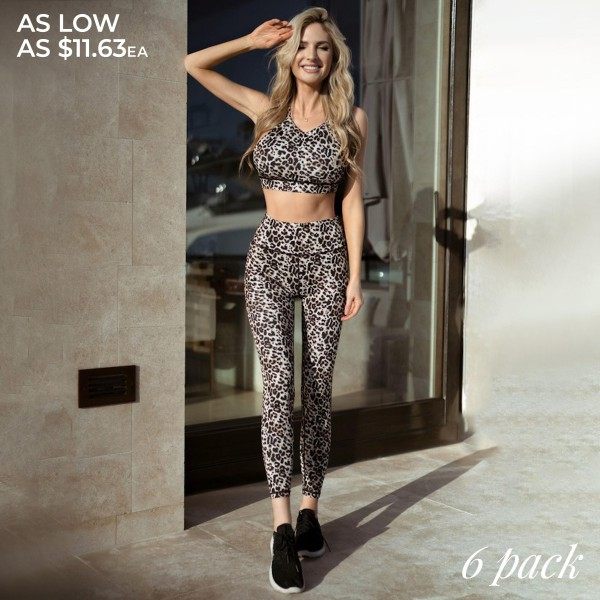 "Women's Active Cheetah Print Workout Leggings.  • Flat high rise waistband smoothes & supports the tummy • Hidden waistband pocket for keys, phone, cash • Vibrant cheetah print • 4-way stretch fabric for a move-with-you feel • Flat lock seams prevent chafing • Triangular Cotton Gusset Lining • Moisture wick fabric • Squat Proof • Fits like a glove • Full length • Pull on/off styling • Wear for yoga, gym, running, or lounge • Imported  - Pack Breakdown: 6pcs/pack - Sizes: 2-S / 2-M / 2-L  - Inseam approximately 26"" L  - 46% Polyester / 41% Nylon / 13% Spandex"
