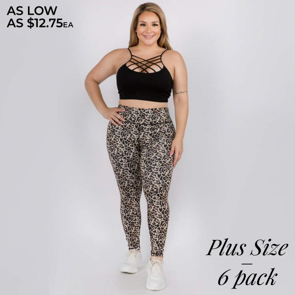 "Women's Plus Size Active Leopard Print Workout Leggings.  • Flat high rise waistband smoothes & supports the tummy • Hidden waistband pocket for keys, phone, cash • Vibrant cheetah print • 4-way stretch fabric for a move-with-you feel • Flat lock seams prevent chafing • Triangular Cotton Gusset Lining • Moisture wick fabric • Squat Proof • Fits like a glove • Full length • Pull on/off styling • Wear for yoga, gym, running, or lounge • Imported  - Pack Breakdown: 6pcs/pack - Sizes: 3-XL / 2-2XL / 1-3XL  - Inseam Approximately 26"" L  - 46% Polyester / 41% Nylon / 13% Spandex"