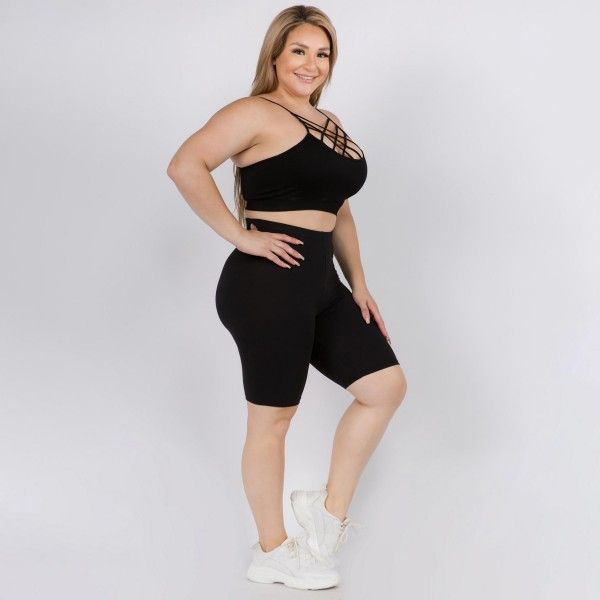 """Women's Plus Size Peach Skin Biker Shorts. (6 Pack)  • Peach Skin • Short leg design • Comfortable and easy pull-up style • Solid color, Very Stretchy • Fits like a Glove • Imported  - Pack Breakdown: 6 Pair Per Pack  - Sizes: 3-L/XL & 3-XL/XXL  - Inseam Approximately 8"""" L  - 95% Polyester / 5% Spandex"""