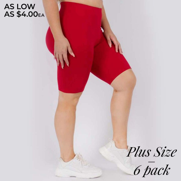 "Women's Plus Size Peach Skin Biker Shorts. (6 Pack)  • Peach Skin • Short leg design • Comfortable and easy pull-up style • Solid color, Very Stretchy • Fits like a Glove • Imported  - Pack Breakdown: 6 Pair Per Pack  - Sizes: 3-L/XL & 3-XL/XXL  - Inseam Approximately 8"" L  - 95% Polyester / 5% Spandex"