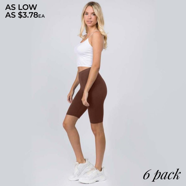 "Women's Peach Skin Biker Shorts. (6 Pack)  • Peach Skin • Short leg design • Comfortable and easy pull-up style • Solid color, Very Stretchy • Fits like a Glove • Imported  - Pack Breakdown: 6 Pair Per Pack - Sizes: 3-SM & 3-ML - Inseam Approximately 8"" L - 95% Polyester / 8% Spandex"