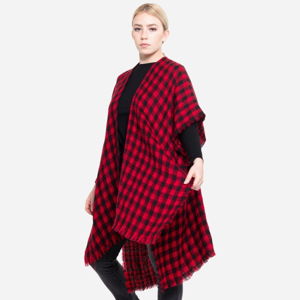"Reversible Buffalo Check Houndstooth Winter Kimono with Frayed Trim.  - One size fits most 0-14 - Approximately 37"" L - 100% Acrylic"