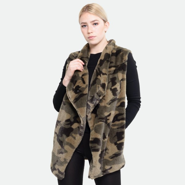 "Faux Fur Camouflage Vest Featuring Crepe Satin Lined Inside with Pockets.  - One size fits most 0-14 - Approximately 30"" L  - 100% Polyester"