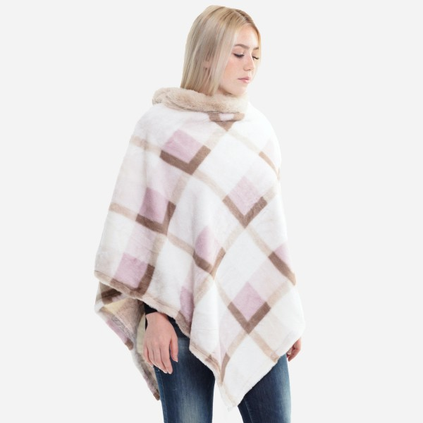 "Women's Faux Fur Plaid Woven Print Poncho Featuring Cowl Neck.  - One size fits most 0-14 - Approximately 35"" L - 100% Polyester"
