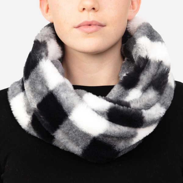 "Faux Fur Buffalo Check Tube Scarf.  - One size fits most - Approximately 9"" W x 28"" L  - 100% Polyester"